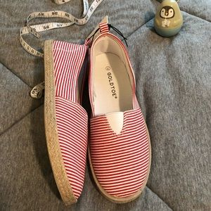 ✨New Gold Toe Red Striped Slip On Espadrille Shoes